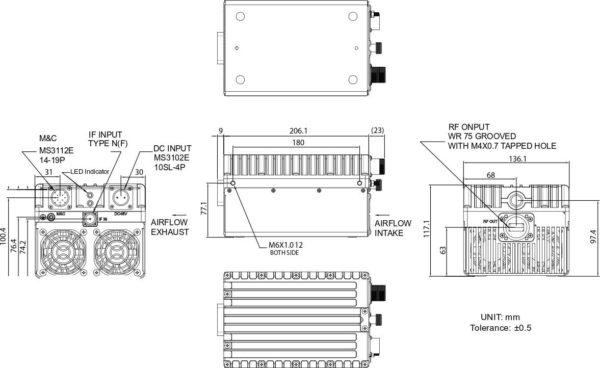 Norsat Ku-Band 40W BUC Mechanical Diagram