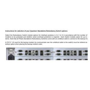 Modems PDQS Standalone Redundancy SwitchRedundancy Kits