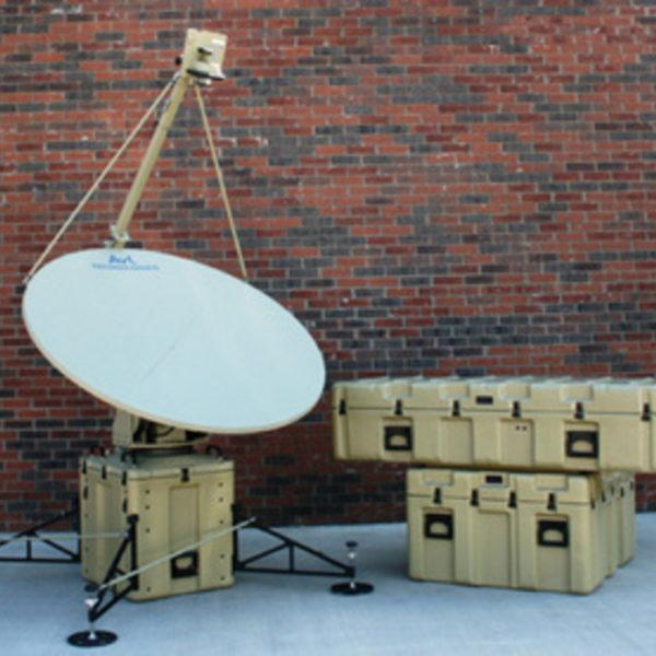 Model 1.6m 1220FA SNG/Mil Tri-Band Motorized FlyAway Antenna