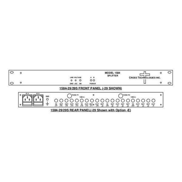 L-Band Splitter Dual 8-Way w/ Monitor LNB Power Redundant AC